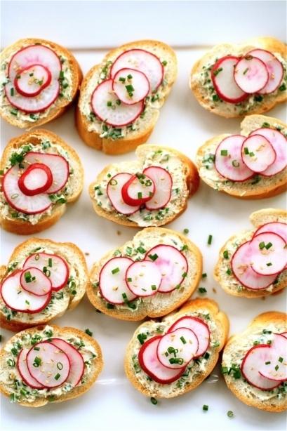 Radish-Chive Tea Sandwiches