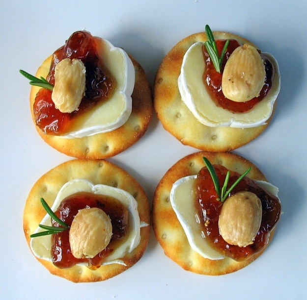 Tiny Brie Bites with Fig Jam and Marcona Almonds