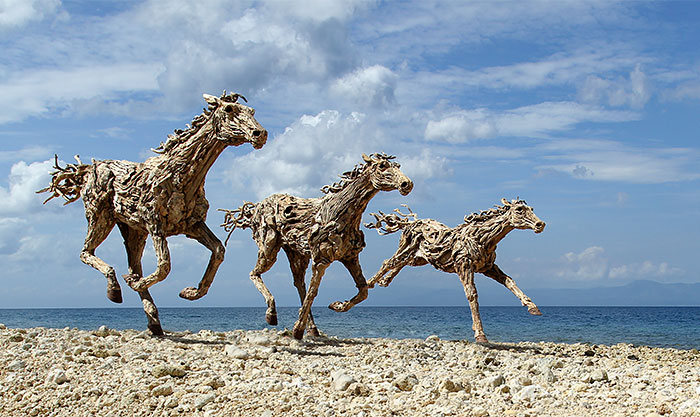 Breathtaking Driftwood Horse Sculptures by James Doran-Webb