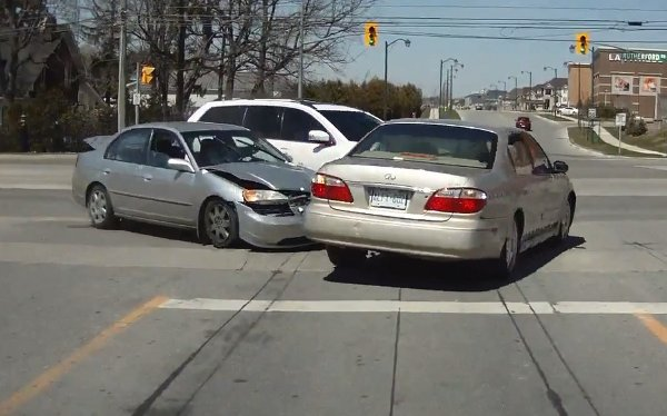 Car Crash Surprise in Toronto (Video)