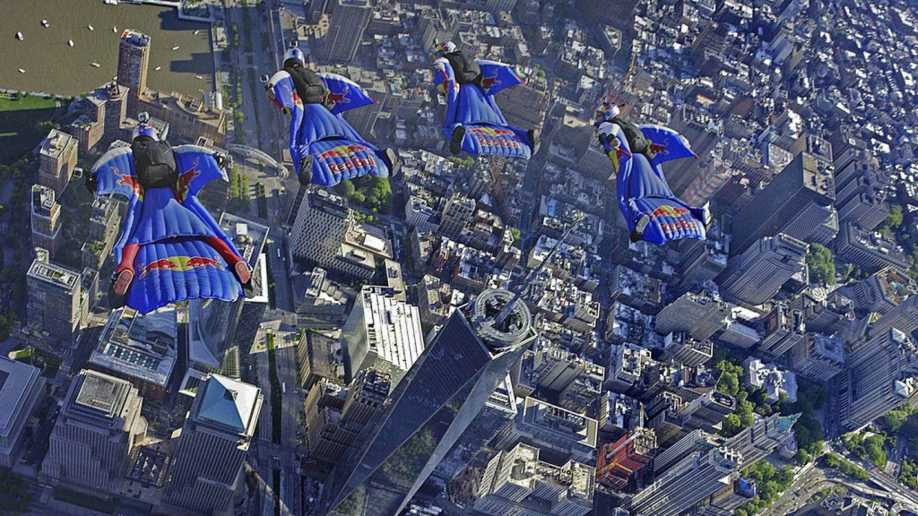 Extreme Aerial Athletes Fly Over New York City in Wingsuits