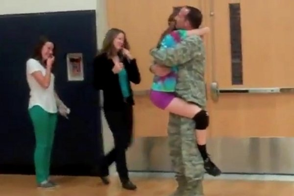 Military Dad Surprises Daughter at Volleyball Practice