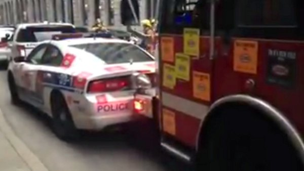 Montreal Fire Truck Rams Police Cars to Reach Blaze (Video)