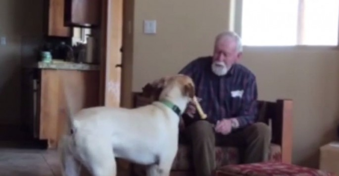 Elderly man with Alzheimer's can barely speak…until his daughter's dog comes to see him
