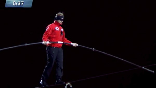 Nik Wallenda's Blindfolded Wire Walk between Chicago Skyscrapers (Video)