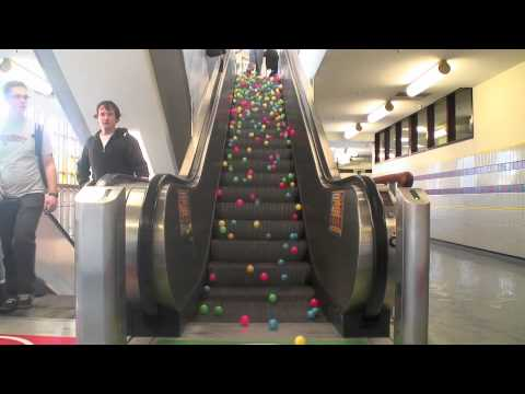 Check Out This Mesmerizing Video of Balls Rolling Down an Escalator