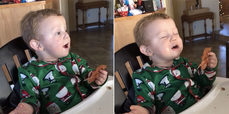 Adorable Baby Eating Bacon For The First Time Is Actually All Of Us (Video)