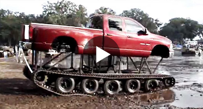 This Guy Puts A Dodge Ram On Tracks, Then Does Something Insane!