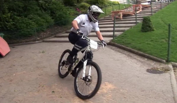 French Cop Bike Competition Fail (Video)