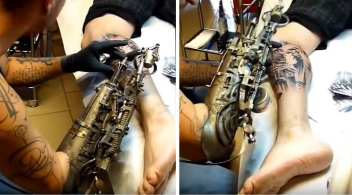 Tattoo Artist Has A Specially Designed Prosthetic Arm Just For Inking People