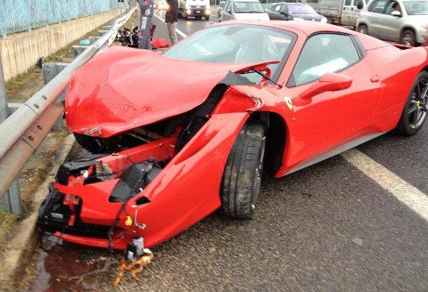 Ferrari 458 Crashes While Passing a Family Car (Video)