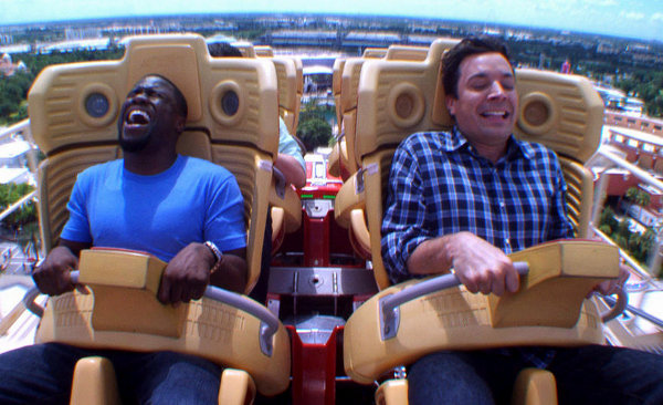 Kevin Hart on a Roller Coaster Ride with Jimmy Fallon (Video)