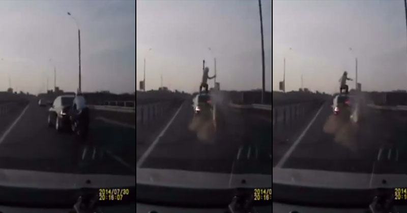 Motorcyclist Crashes at High Speed, Lands Perfect Front Flip onto Roof of Moving Car