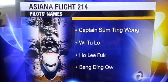 Asiana Airlines Will Sue San Francisco Television Station For Broadcasting Offensive Fake Pilots Names