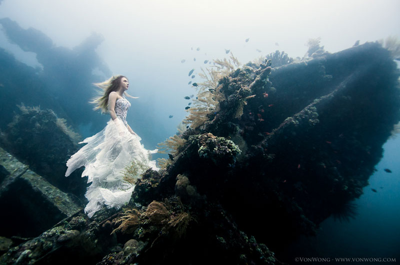 Surreal Underwater Photo Shoot with Freedivers on a Shipwreck in Bali