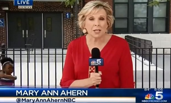 Little Girl Dancing in the Background of NBC 5 Chicago News (Video)