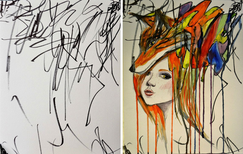 Artist Turns Her 2-Year-Old's Sketches Into Watercolor Paintings