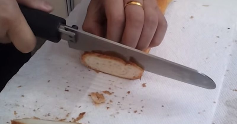 Watching This Ultrasonic Knife Cut Through A Baguette Is So Satisfying